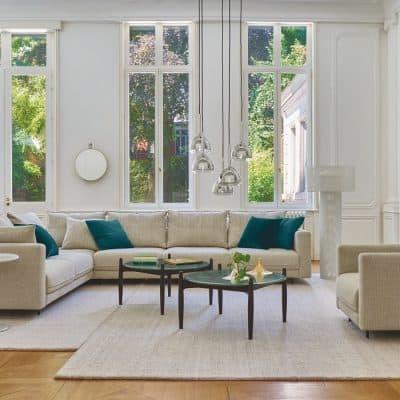 Enki modular seating & Enki Armchair designed by Evangelos Vasileiou and Caffe low marble tables.