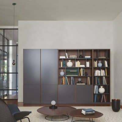 Canaletto full height storage unit in lacquers plus walnut. Solid walnut Pebble low table