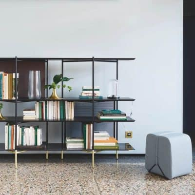 Clyde low bookcase with Mobidec stool designed by Pierre Charpin for Ligne Roset