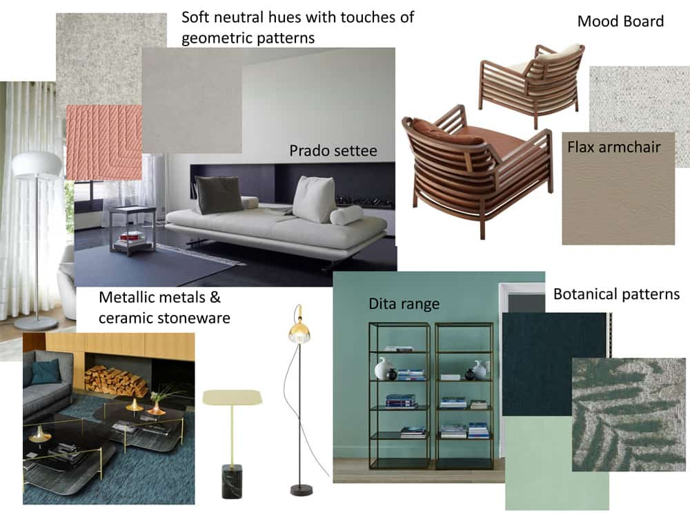 Ligne Roset Westend's Interior Design and Room Planning Service - mood board example